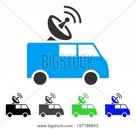 Radio Control Car flat vector pictograph. Colored radio control car gray, black, blue, green icon variants. Flat icon style for graphic design.