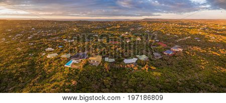Aerial panorama of Rye suburb at beautiful sunset. Mornington Peninsula Melbourne Australia