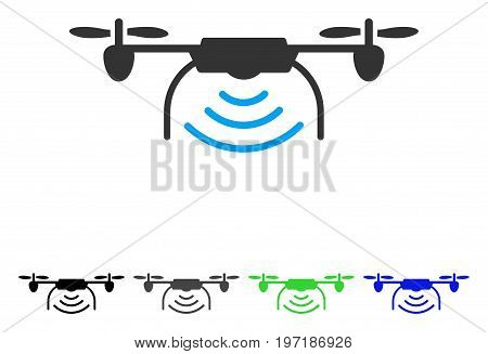 Radio Transmitter Airdrone flat vector icon. Colored radio transmitter airdrone gray, black, blue, green icon versions. Flat icon style for application design.