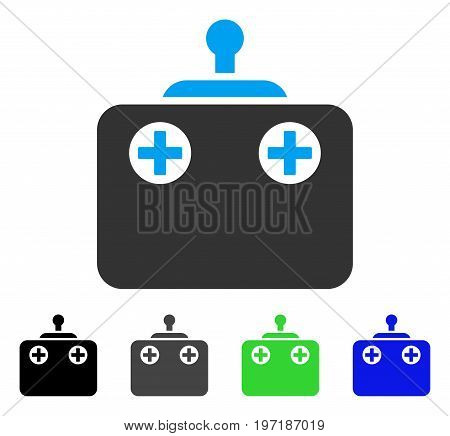 Remote Control flat vector pictograph. Colored remote control gray, black, blue, green pictogram variants. Flat icon style for application design.