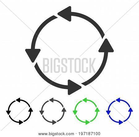 Rotation CCW flat vector pictogram. Colored rotation CCW gray, black, blue, green pictogram versions. Flat icon style for web design.