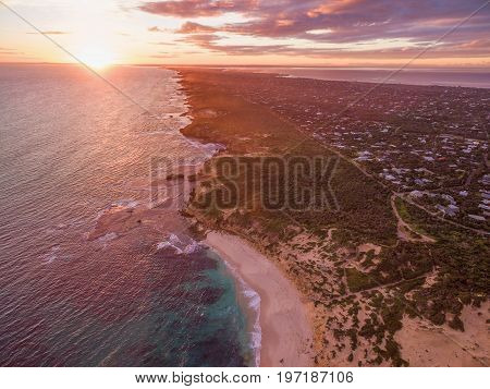 Aerial view of Rye suburb and ocean coastline at beautiful sunset. Melbourne Australia
