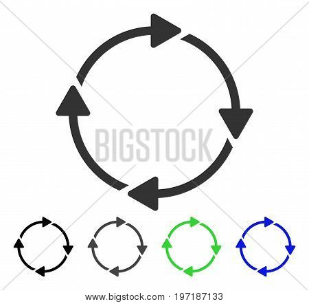 Rotation flat vector icon. Colored rotation gray, black, blue, green icon variants. Flat icon style for web design.