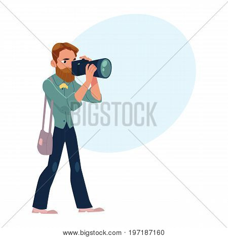 Male photographer, camera man at work taking pictures, shooting, cartoon vector illustration with space for text.Full length portrait of professional photographer, photo journalist, reporter at work