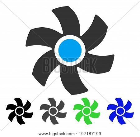 Rotor flat vector pictogram. Colored rotor gray, black, blue, green pictogram versions. Flat icon style for graphic design.
