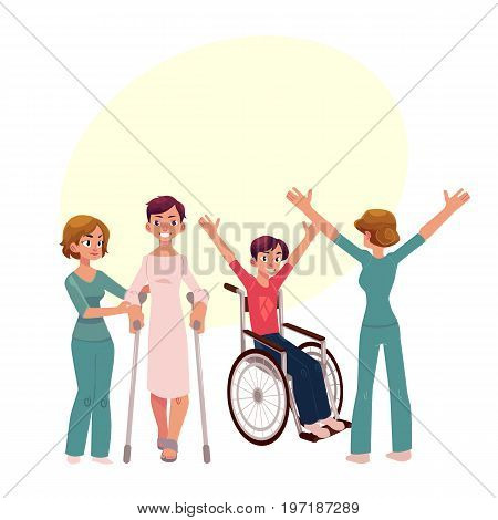 Medical rehabilitation, physical therapy activities, physiotherapist working with patients, cartoon vector illustration with space for text. Medical rehabilitation, physical therapy, nurse, patients