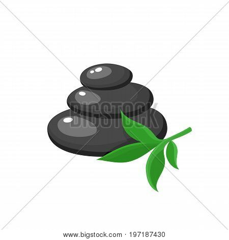 Stack of three black hot stones, spa salon accessory, cartoon vector illustration on white background. Stack of round basalt stones for hot stone massage in spa salon