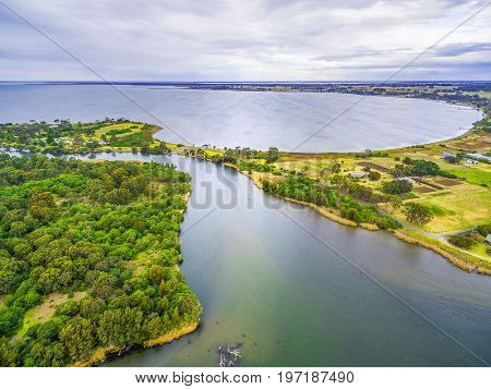 Aerial view of Jones Bay at Gippsland Lakes Reserve Victoria Australia. Typical Australian Landscape