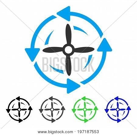 Screw Rotation flat vector icon. Colored screw rotation gray, black, blue, green icon variants. Flat icon style for web design.