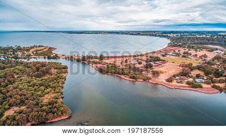 Aerial panoramic view of Jones Bay at Gippsland Lakes Reserve Victoria Australia