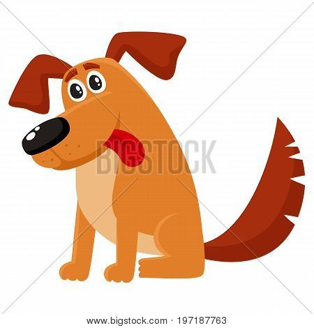 Cute brown funny house dog, puppy character sitting with tongue out, cartoon vector illustration isolated on white background. Funny dog, puppy character sitting with nice friendly expression