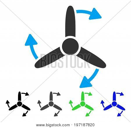 Three Bladed Screw Rotation flat vector pictogram. Colored three bladed screw rotation gray, black, blue, green icon versions. Flat icon style for application design.