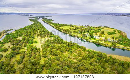 Aerial panoramic view of Mitchell River Silt Jetties Gippsland Australia