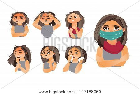 Female, woman head showing flu, influenza symptoms - headache, runny nose, sneezing, coughing, wearing medical mask, cartoon vector illustration isolated on white background. Set of flu symptoms