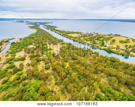 Aerial view of Mitchell River Silt Jetties at Gippsland Lakes Reserve Victoria Australia