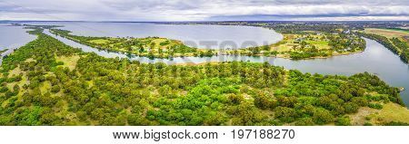 Aerial panorama of Mitchell River Silt Jetties Gippsland Lakes Reserve Victoria Australia