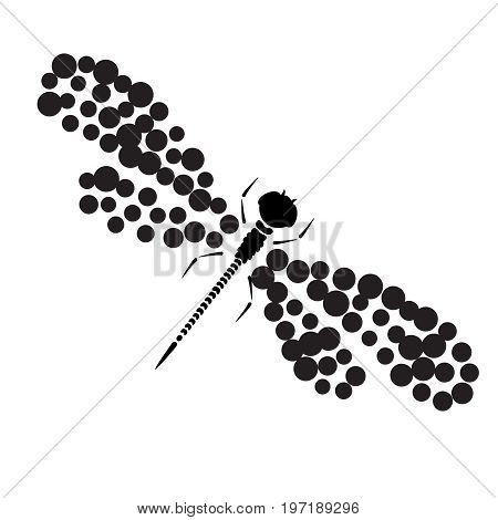 Dragonfly silhouette. Cartoon graphic illustration of damselfly isolated with black and white wings. Sketch vector insect