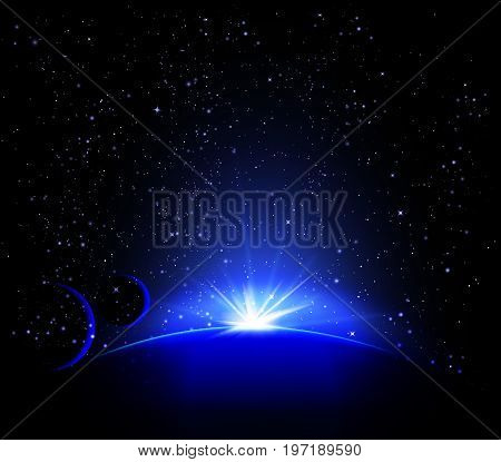 Blue planet. Space landscape. Planets in space. The stars in space. Space body.