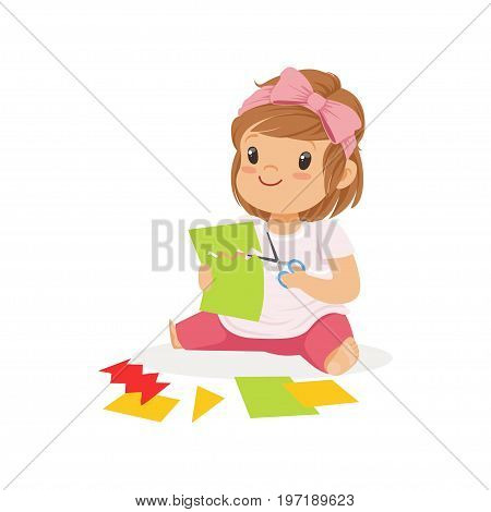 Cute little girl utting an application details, kids creativity, education and child development, colorful character vector Illustration isolated on a white background