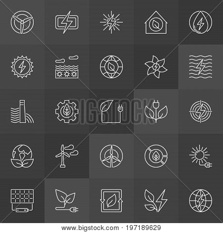 Green eco energy icons - vector set of wind, solar, hydro, bio energy and power outline signs on dark background