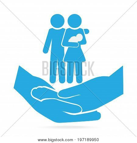 Family on hand clasped blue icon care or protection relationship concept