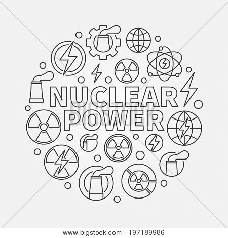 Nuclear power round illustration - vector round energy concept symbol made with nuclear icons in thin line style