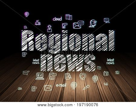 News concept: Glowing text Regional News,  Hand Drawn News Icons in grunge dark room with Wooden Floor, black background