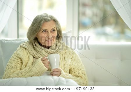Close up portrait of senior woman drinking tea
