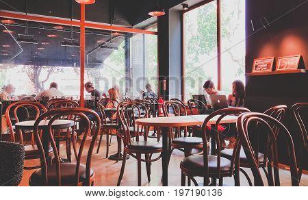 Istanbul, Turkey - June 02, 2017: People At Starbucks Coffee Shop In Istanbul.