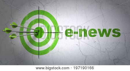 Success news concept: arrows hitting the center of target, Green E-news on wall background, 3D rendering