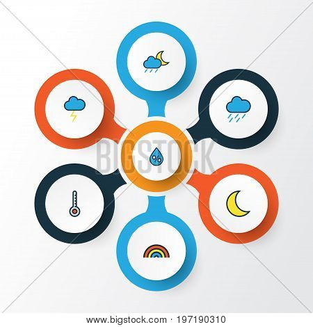 Climate Colorful Outline Icons Set. Collection Of Lunar, Rainbow, Cloudburst And Other Elements