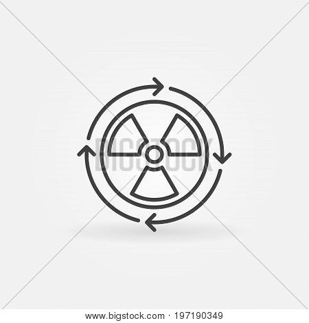 Nuclear power concept icon. Vector minimal radiation symbol or design element in thin line style