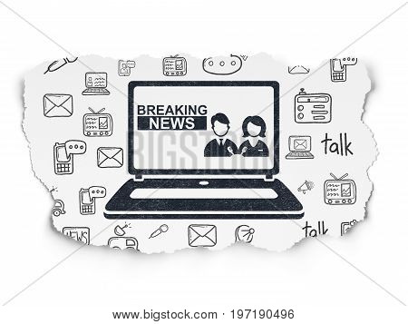 News concept: Painted black Breaking News On Laptop icon on Torn Paper background with  Hand Drawn News Icons