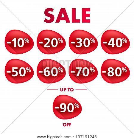 Blob form sale discount labels set vector illustration. Good for ad, catalog, web design.
