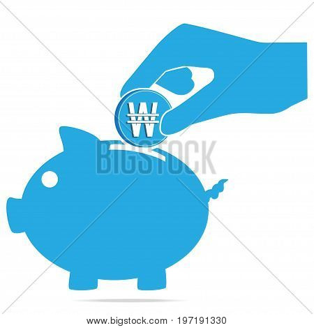 Piggy money bank and hand icon KRW currency sign. Saving or safety concept