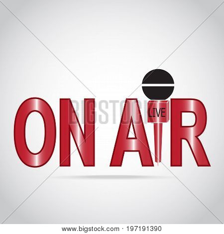On air text and microphone icon live streaming sign interview answering question or journalist concept