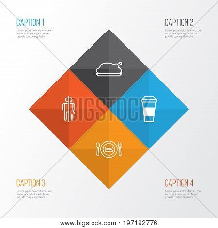 Restaurant Icons Set. Collection Of Mocha, Chicken Fry, Fresh Dining And Other Elements