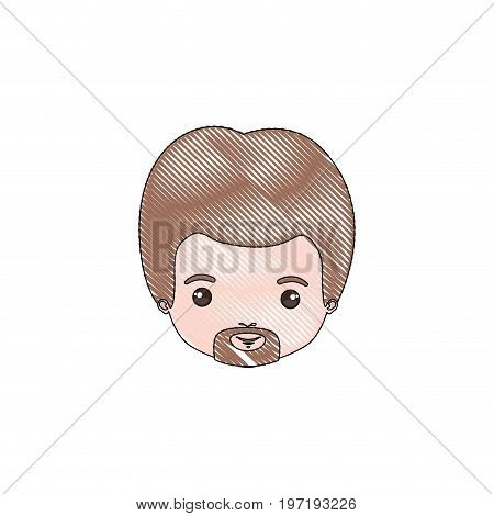 color crayon silhouette caricature closeup front view face man with van dyke beard and light brown hair vector illustration
