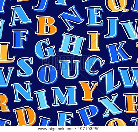 Colored letters of the English alphabet, background, seamless, blue, vector. Blue and orange letters with serifs on a dark blue background. Thin white outline on the letters is offset to the side.