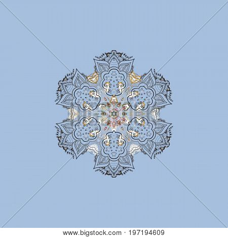 Vector illustration. Ethnic of Lace Snowflakes. Design for Fabric or Sketch. Decorative Texture Background of Mandalas. Stylized Flowers. Lacy Fashion Print for Textile. Folk Style.