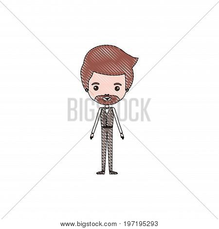 color crayon silhouette caricature groom man in wedding formal suit with van dyke beard vector illustration