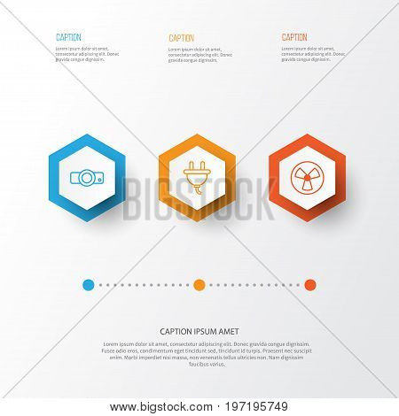Gadget Icons Set. Collection Of Presentation, Socket, Ventilator And Other Elements