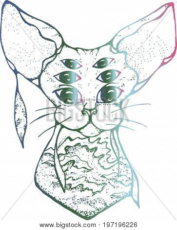 Illustration of a psychedelic cat with three pairs of eyes. The colorful cat is decorated with sea waves in Japanese style