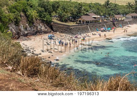 A view of the beach at Hookipa Beach Park on Maui Hawaii. Turtles on the left.