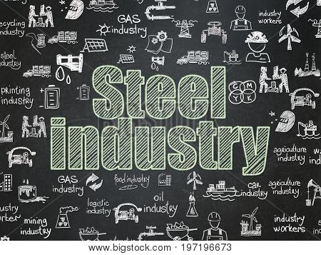 Manufacuring concept: Chalk Green text Steel Industry on School board background with  Hand Drawn Industry Icons, School Board