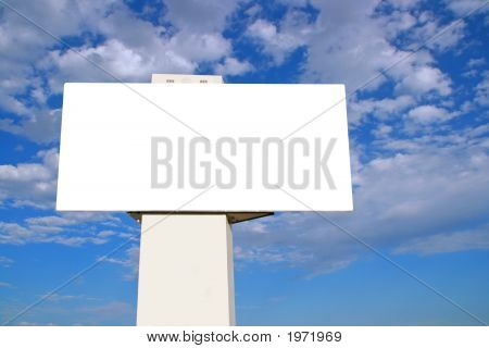 Large Billboard With Blue Sky And Clouds