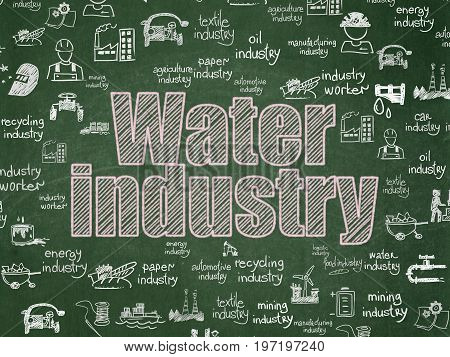 Industry concept: Chalk Pink text Water Industry on School board background with  Hand Drawn Industry Icons, School Board