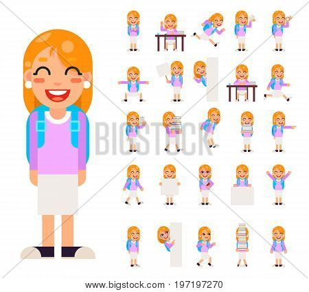Pupil Girl School Children Student Different Poses and Actions Teen Characters Kid Icons Set Isolated Education Knowledge Flat Design Vector Illustration