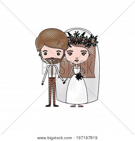 color crayon silhouette caricature newly married couple bearded groom with formal wear and bride with straight medium hairstyle vector illustration