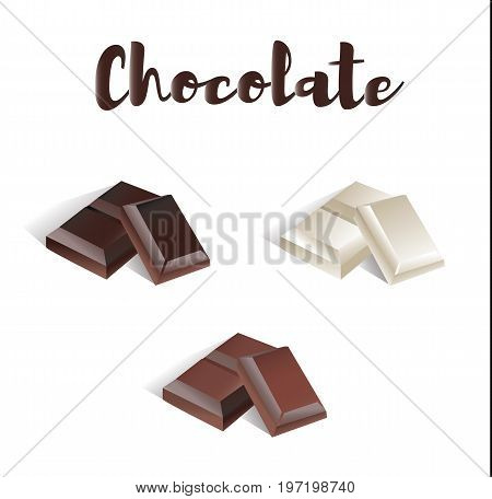 Chocolate Set. White chocolate, milk chocolate and bitter chocolate. Vector illustration of a chocolate collection